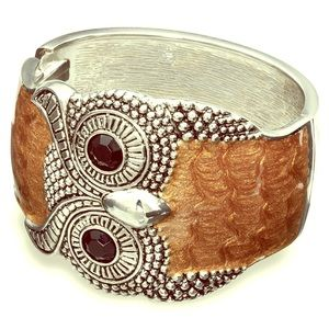 NWOT Women's Owl Statement Bangle Bronze Bracelet
